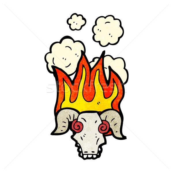 Ognisty baran czaszki cartoon retro rysunek Zdjęcia stock © lineartestpilot