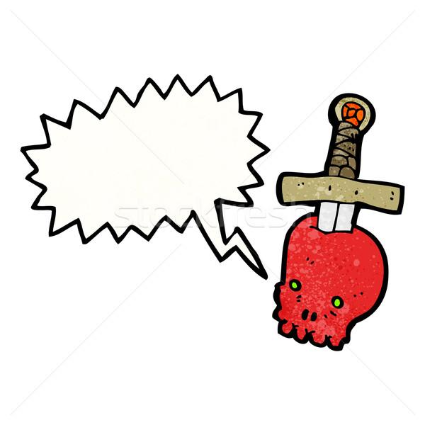 череп кинжал Cartoon татуировка искусства ретро Сток-фото © lineartestpilot