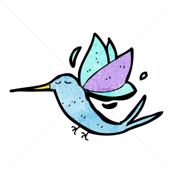 Cartoon hummingbird искусства ретро рисунок Cute Сток-фото © lineartestpilot