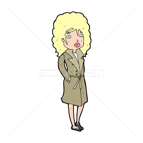 Cartoon женщину окоп пальто дизайна искусства Сток-фото © lineartestpilot