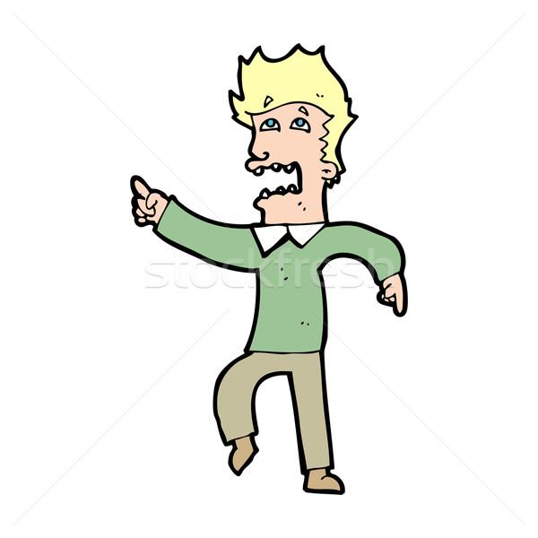 Cartoon bange man wijzend hand ontwerp Stockfoto © lineartestpilot