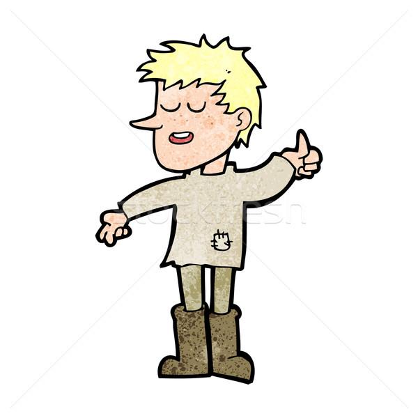 Cartoon arme jongen positieve houding hand man Stockfoto © lineartestpilot