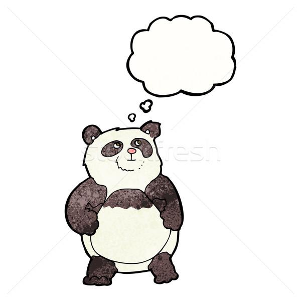 Karikatür panda düşünce balonu el dizayn sanat Stok fotoğraf © lineartestpilot