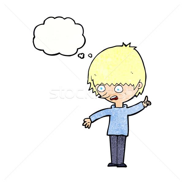 Cartoon мальчика вопросе мысли пузырь стороны человека Сток-фото © lineartestpilot