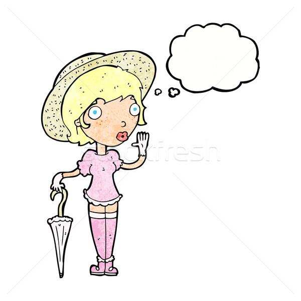 Cartoon женщину лет Hat мысли пузырь Сток-фото © lineartestpilot