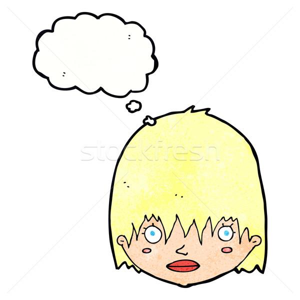 Rajz bámul nő gondolatbuborék kéz arc Stock fotó © lineartestpilot
