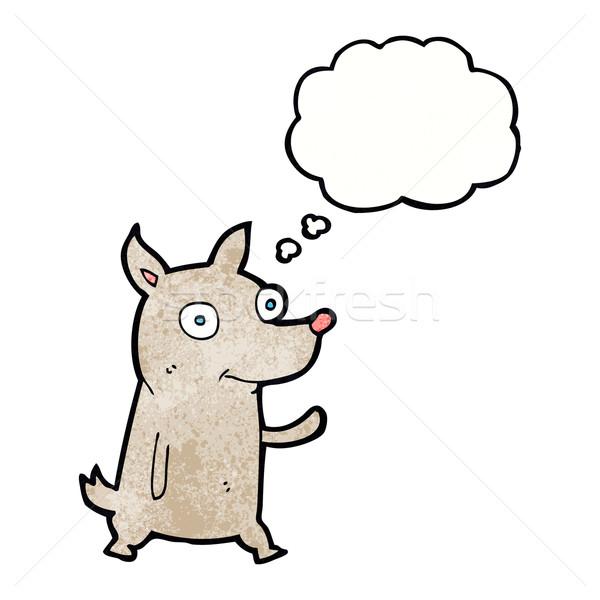 Rajz kicsi kutya integet gondolatbuborék kéz Stock fotó © lineartestpilot
