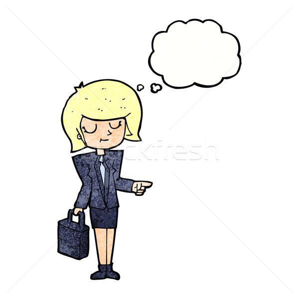 Cartoon mujer de negocios senalando burbuja de pensamiento negocios mujer Foto stock © lineartestpilot