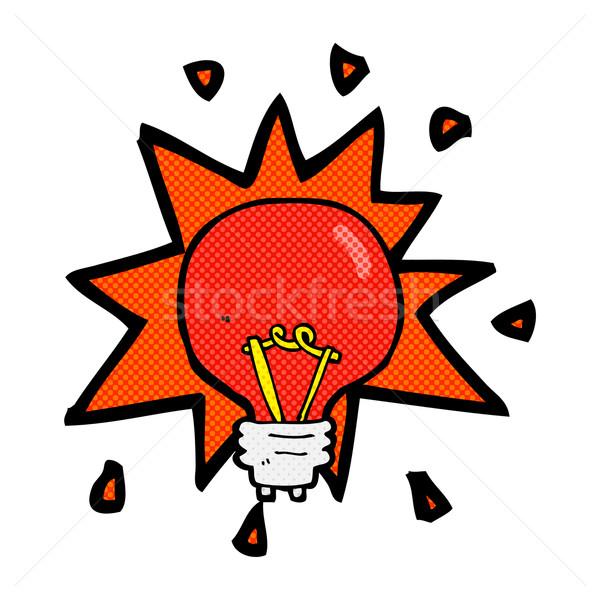 Komiks cartoon czerwone światło żarówki retro komiks Zdjęcia stock © lineartestpilot