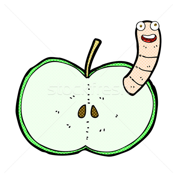 comic cartoon apple with worm Stock photo © lineartestpilot