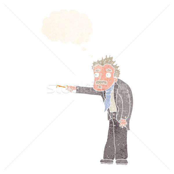 Rajz férfi kulcs zárat kinyit gondolatbuborék kéz Stock fotó © lineartestpilot