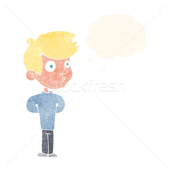 Rajz fiú bámul gondolatbuborék kéz férfi Stock fotó © lineartestpilot
