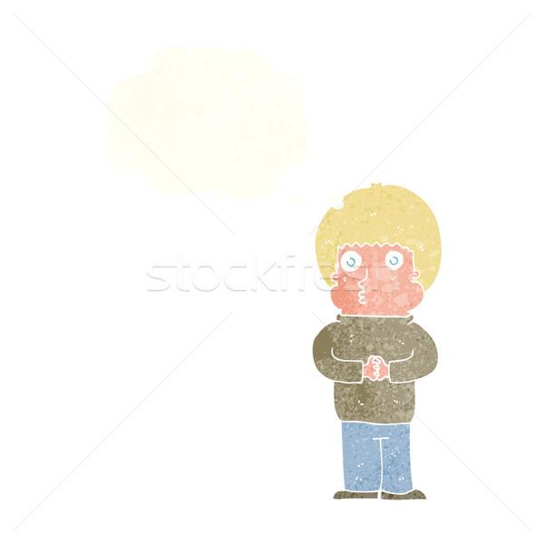Cartoon nieśmiała chłopca bubble myśl strony człowiek Zdjęcia stock © lineartestpilot
