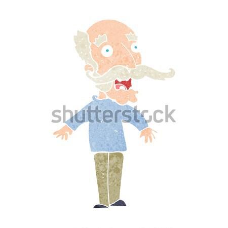 Cartoon triste vecchio bolla di pensiero mano uomo Foto d'archivio © lineartestpilot