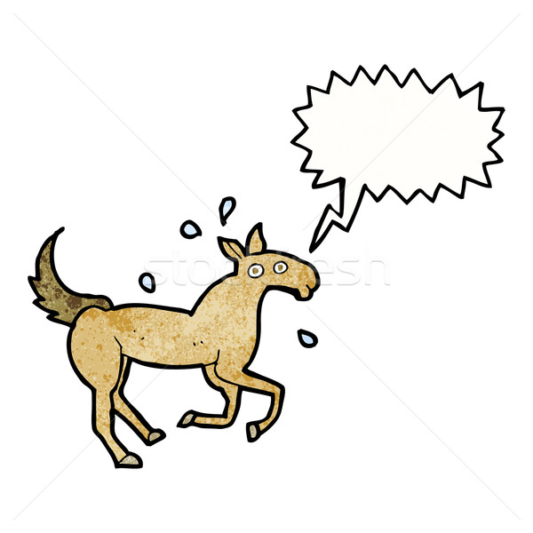 cartoon horse sweating with speech bubble Stock photo © lineartestpilot
