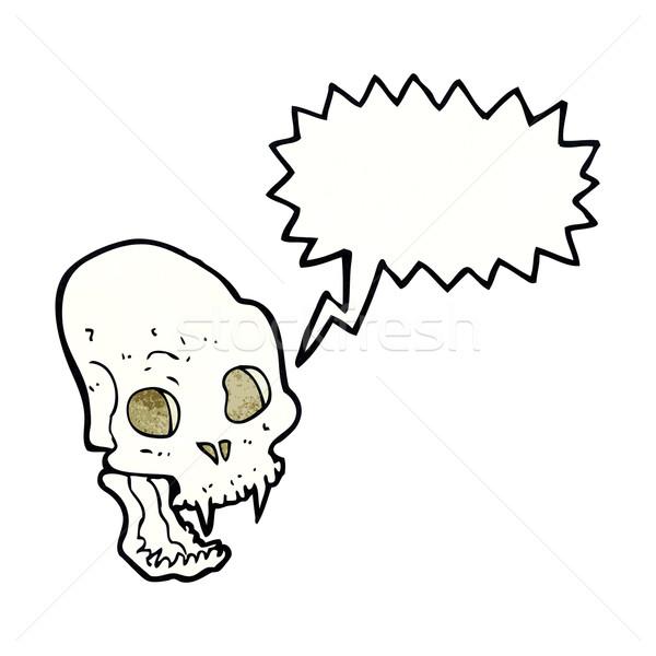 Desenho animado assustador vampiro crânio balão de fala mão Foto stock © lineartestpilot