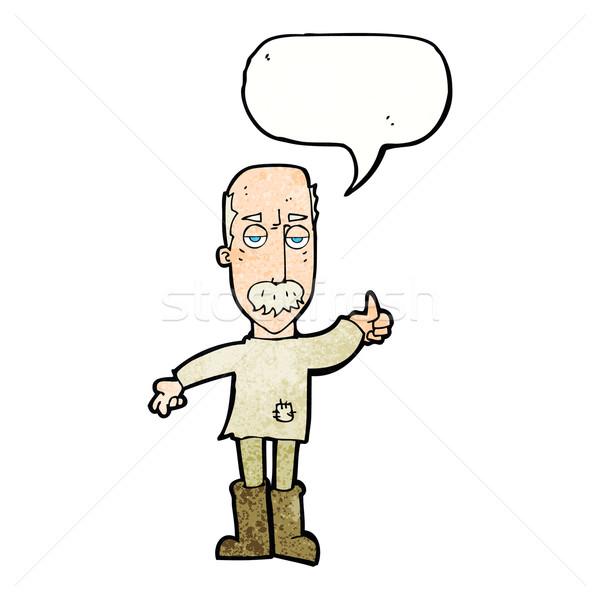 Desenho animado irritado velho balão de fala mão projeto Foto stock © lineartestpilot