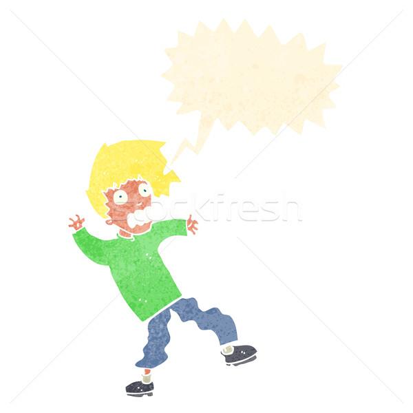 Cartoon przerażony człowiek dymka strony projektu Zdjęcia stock © lineartestpilot