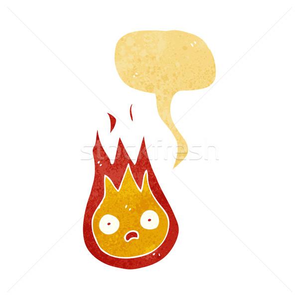 Cartoon amistoso bola de fuego bocadillo mano diseno Foto stock © lineartestpilot