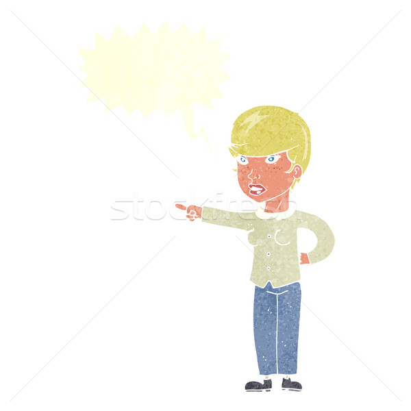 cartoon woman pointing finger of blame with speech bubble Stock photo © lineartestpilot