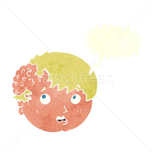 Сток-фото: Cartoon · мальчика · уродливые · роста · голову · речи · пузырь