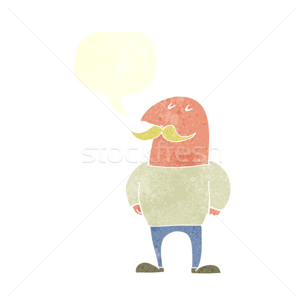 cartoon bald man with mustache with speech bubble Stock photo © lineartestpilot