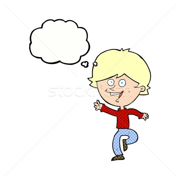 Cartoon счастливым мальчика мысли пузырь стороны Сток-фото © lineartestpilot