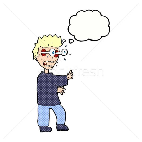 Cartoon przerażony chłopca bubble myśl strony człowiek Zdjęcia stock © lineartestpilot