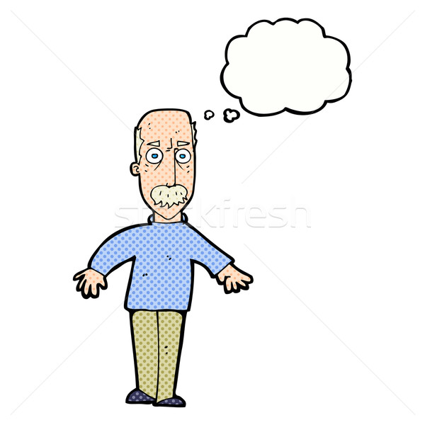 cartoon annoyed old man with thought bubble Stock photo © lineartestpilot