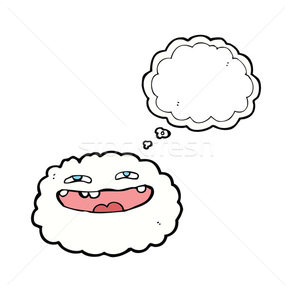 Heureux cartoon nuage bulle de pensée main visage Photo stock © lineartestpilot