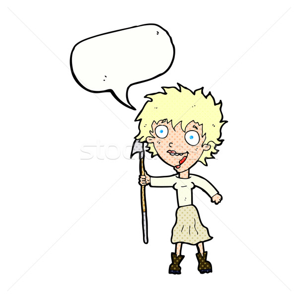 cartoon crazy woman with spear with speech bubble Stock photo © lineartestpilot
