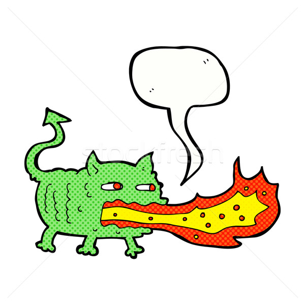 cartoon fire breathing imp with speech bubble Stock photo © lineartestpilot