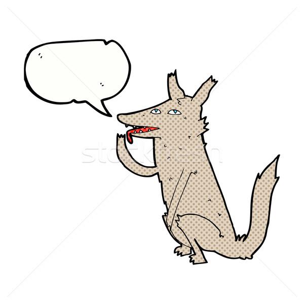 Сток-фото: Cartoon · волка · лапа · речи · пузырь · стороны · дизайна