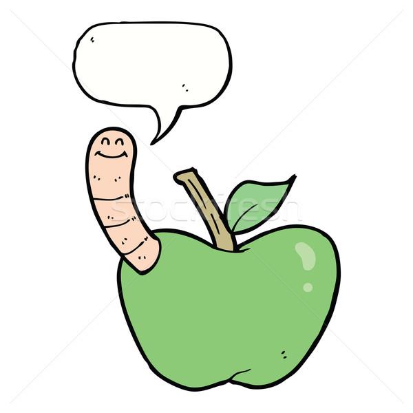 Karikatür elma solucan konuşma balonu el dizayn Stok fotoğraf © lineartestpilot