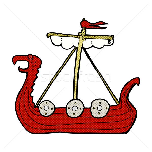 Foto stock: Cómico · Cartoon · vikingo · buque · retro