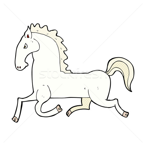 comic cartoon running white stallion Stock photo © lineartestpilot