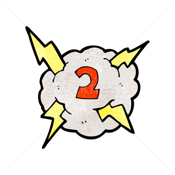 Cartoon Thunder nuage nombre deux tempête Photo stock © lineartestpilot