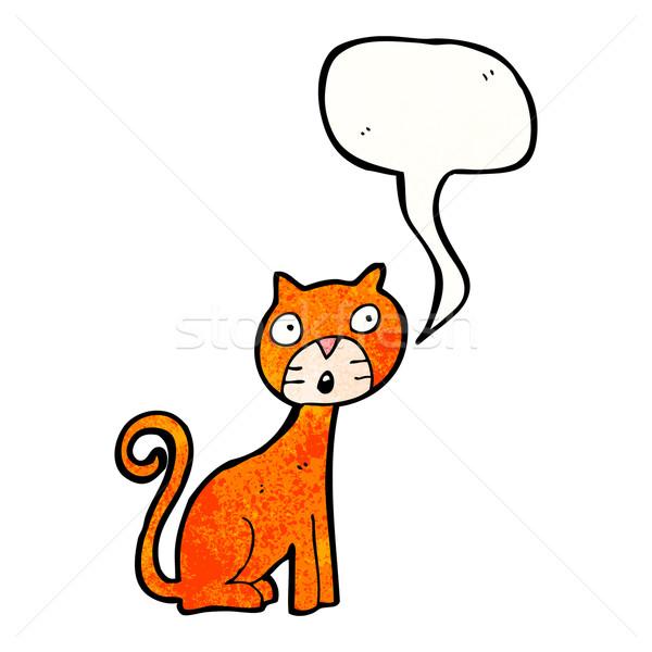 cartoon cat with speech bubble Stock photo © lineartestpilot