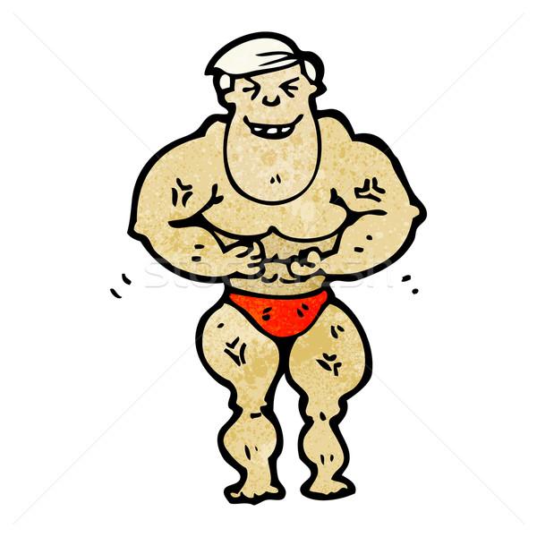 cartoon body builder man Stock photo © lineartestpilot
