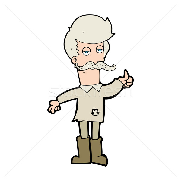 Cartoon oude man arme kleding hand man Stockfoto © lineartestpilot