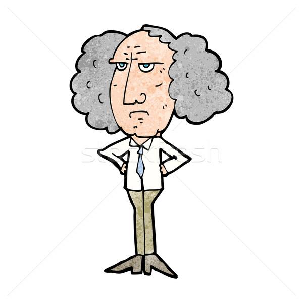 cartoon big hair lecturer man Stock photo © lineartestpilot