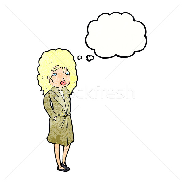 cartoon woman in trench coat with thought bubble Stock photo © lineartestpilot