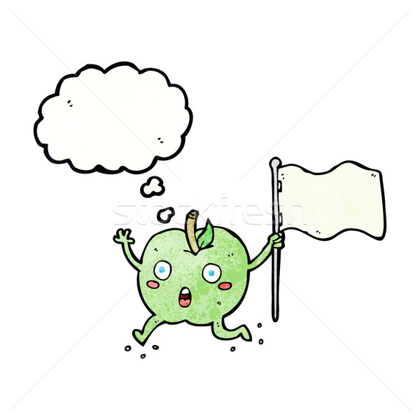 cartoon funny apple with flag with thought bubble Stock photo © lineartestpilot