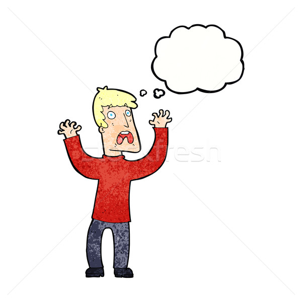 cartoon frightened man with thought bubble Stock photo © lineartestpilot