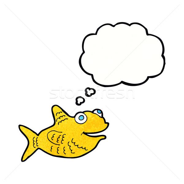 Karikatür mutlu balık düşünce balonu el dizayn Stok fotoğraf © lineartestpilot