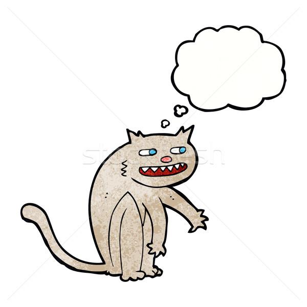 Karikatür mutlu kedi düşünce balonu el dizayn Stok fotoğraf © lineartestpilot