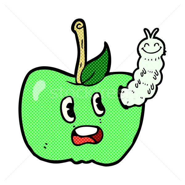 Cômico desenho animado maçã bicho retro Foto stock © lineartestpilot