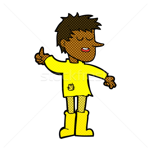 comic cartoon poor boy with positive attitude Stock photo © lineartestpilot