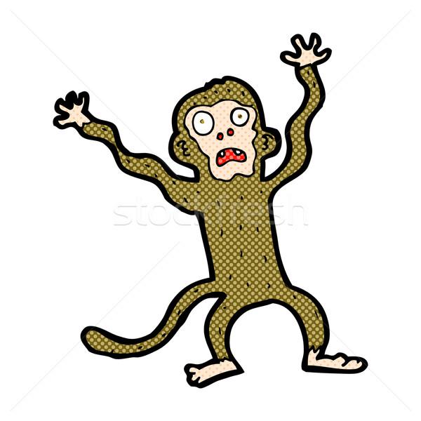 комического Cartoon испуганный обезьяны ретро Сток-фото © lineartestpilot