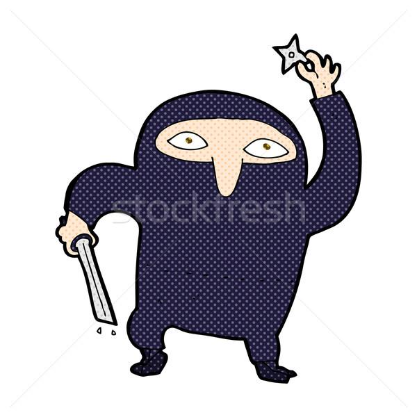 Komische cartoon ninja retro stijl Stockfoto © lineartestpilot